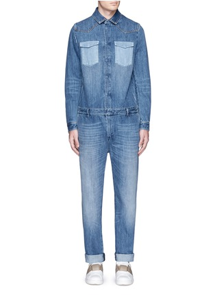 Main View - Click To Enlarge - Valentino - Tuxedo stripe denim combo jumpsuit