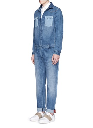 Figure View - Click To Enlarge - Valentino - Tuxedo stripe denim combo jumpsuit