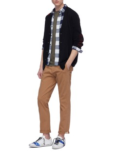 The Editor Brushed check plaid panel wool blend cardigan