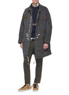 The Editor Tartan plaid herringbone panel sweatshirt