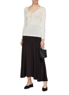CRUSH Collection Button keyhole Mulberry silk-cashmere sweater
