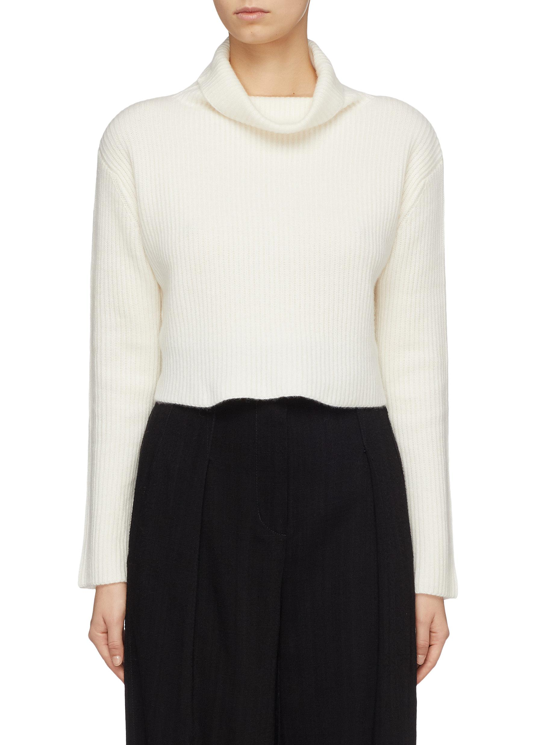 Cashmere rib knit cropped cowl neck sweater by Crush Collection