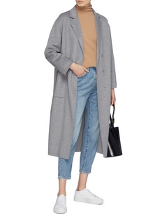 CRUSH Collection Belted wool-cashmere melton cocoon coat
