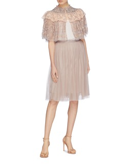 Needle & Thread 'Cinderella' floral embellished lace yoke tiered tulle cape