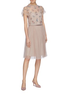 Needle & Thread 'Halley' floral embellished tulle top