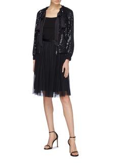 Needle & Thread 'Gloss Sequin' stripe sash tie neck jacket