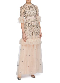 Needle & Thread 'Dusk' floral embroidered ruffle tiered tulle gown