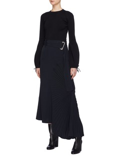 Victoria Beckham Plissé pleated circle panel belted twill midi skirt