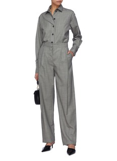 Victoria Beckham Pleated virgin wool twill wide leg pants