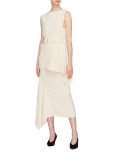 Victoria Beckham Asymmetric drape cady midi skirt