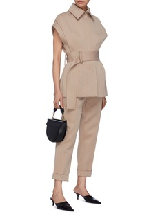Victoria Beckham Roll cuff cropped virgin wool-cotton twill pants