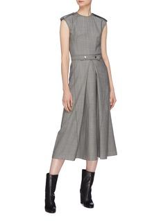 Victoria Beckham Shoulder epaulette belted pleated virgin wool dress