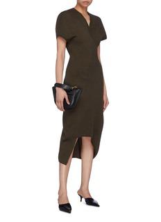 Victoria Beckham Asymmetric curve hem virgin wool knit V-neck dress