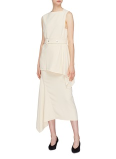 Victoria Beckham Asymmetric drape belted sleeveless cady top