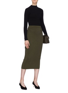 Victoria Beckham Split back virgin wool blend knit skirt