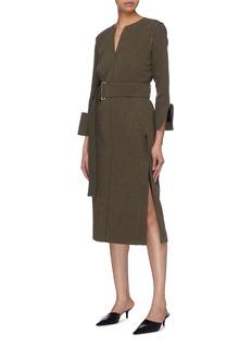 Victoria Beckham Peak cuff belted side split twill dress