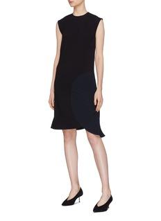 Victoria Beckham Plissé pleated circle panel sleeveless dress
