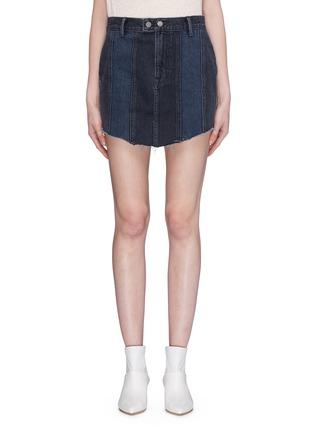 Main View - Click To Enlarge - GRLFRND - 'Tina' slogan embroidered panelled denim skirt