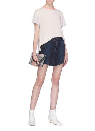 Figure View - Click To Enlarge - GRLFRND - 'Tina' slogan embroidered panelled denim skirt