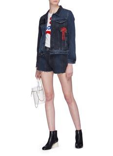 GRLFRND 'Cindy' rose embroidered panelled denim shorts