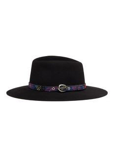Maison Michel 'Charles' tartan belt rabbit furfelt fedora hat