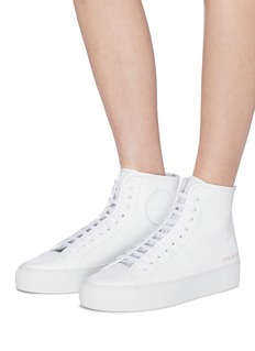 Common Projects 'Tournament' leather high top platform sneakers
