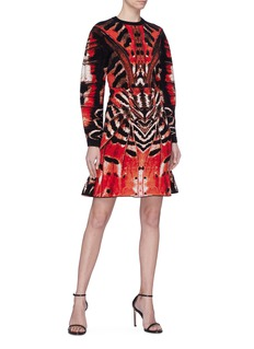 Alexander McQueen Puff sleeve Tiger butterfly wing jacquard knit top