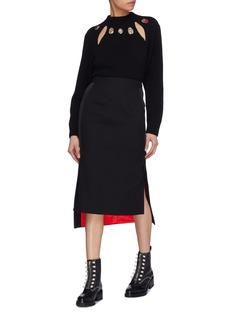 Alexander McQueen Beetle embellished collar cutout wool-cashmere sweater