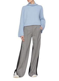 Stella McCartney Bell sleeve cashmere-wool rib knit turtleneck sweater
