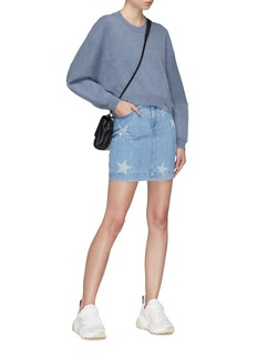 Stella McCartney Staggered hem seamed sleeve oversized wool-alpaca sweater