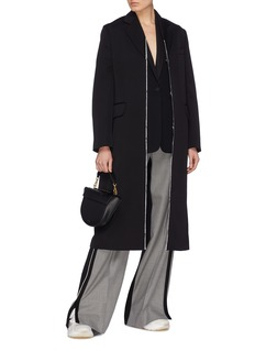 Stella McCartney 'Melany' contrast placket wool twill coat