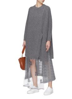 Stella McCartney Asymmetric Aran knit oversized cape sweater