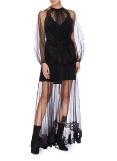 Stella McCartney 'Sophia' belted Chantilly lace trim tulle dress