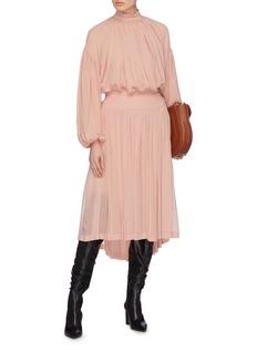 Stella McCartney 'Tanya' pleated silk georgette high neck blouse
