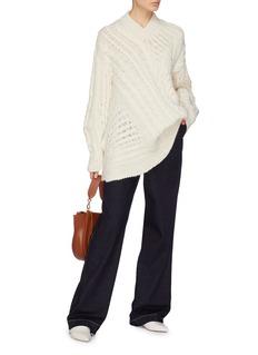 Stella McCartney Asymmetric Aran knit oversized V-neck sweater