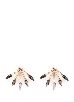 Main View - Click To Enlarge - Pamela Love - Ombré 5 Spike' diamond 18k rose gold fan earrings