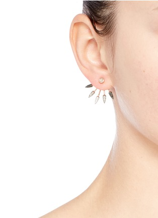 Figure View - Click To Enlarge - Pamela Love - Ombré 5 Spike' diamond 18k rose gold fan earrings