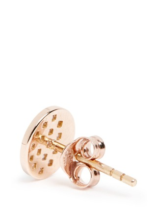Detail View - Click To Enlarge - Pamela Love - 'Moon Phase' mismatched diamond 18k rose gold earrings