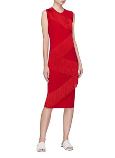 Norma Kamali Zigzag fringe dress