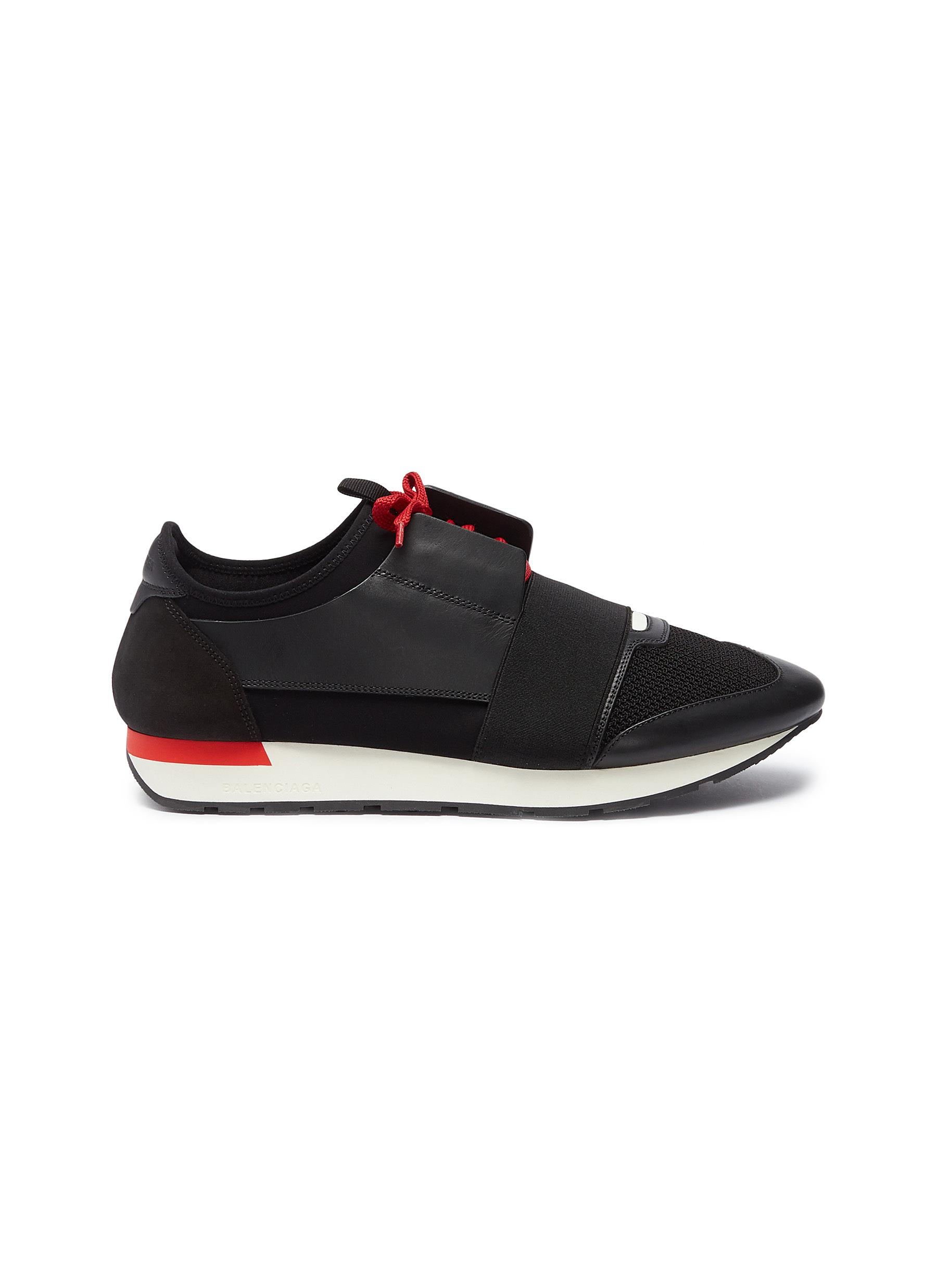 Balenciaga Mens Black And Red Striped Capsule Race Runners Leather And Suede Sneakers