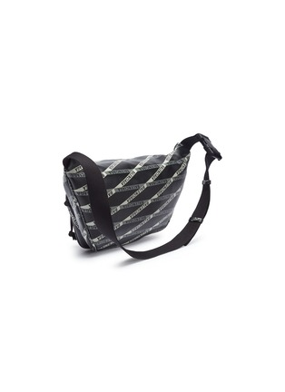 Detail View - Click To Enlarge - Balenciaga - 'Explorer' logo tape print leather belt bag