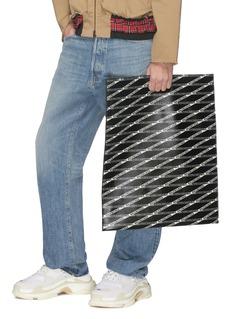 Balenciaga Logo tape print medium leather shopping bag