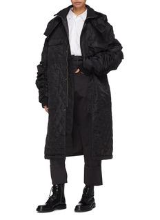 YAJUN Ruched sleeve hooded unisex down bomber coat