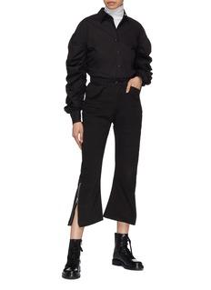 YAJUN Zip cuff flap pocket twill cropped pants