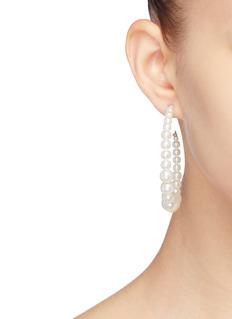 Kenneth Jay Lane Graduating glass pearl hoop earrings
