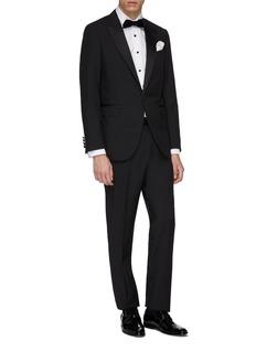 Lanvin Metallic windowpane check wool tuxedo suit