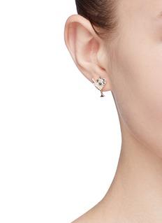 HEFANG 'Martini' cubic zirconia mismatched stud earrings
