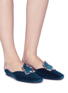 Yuul Yie Faux pearl brooch velvet slides
