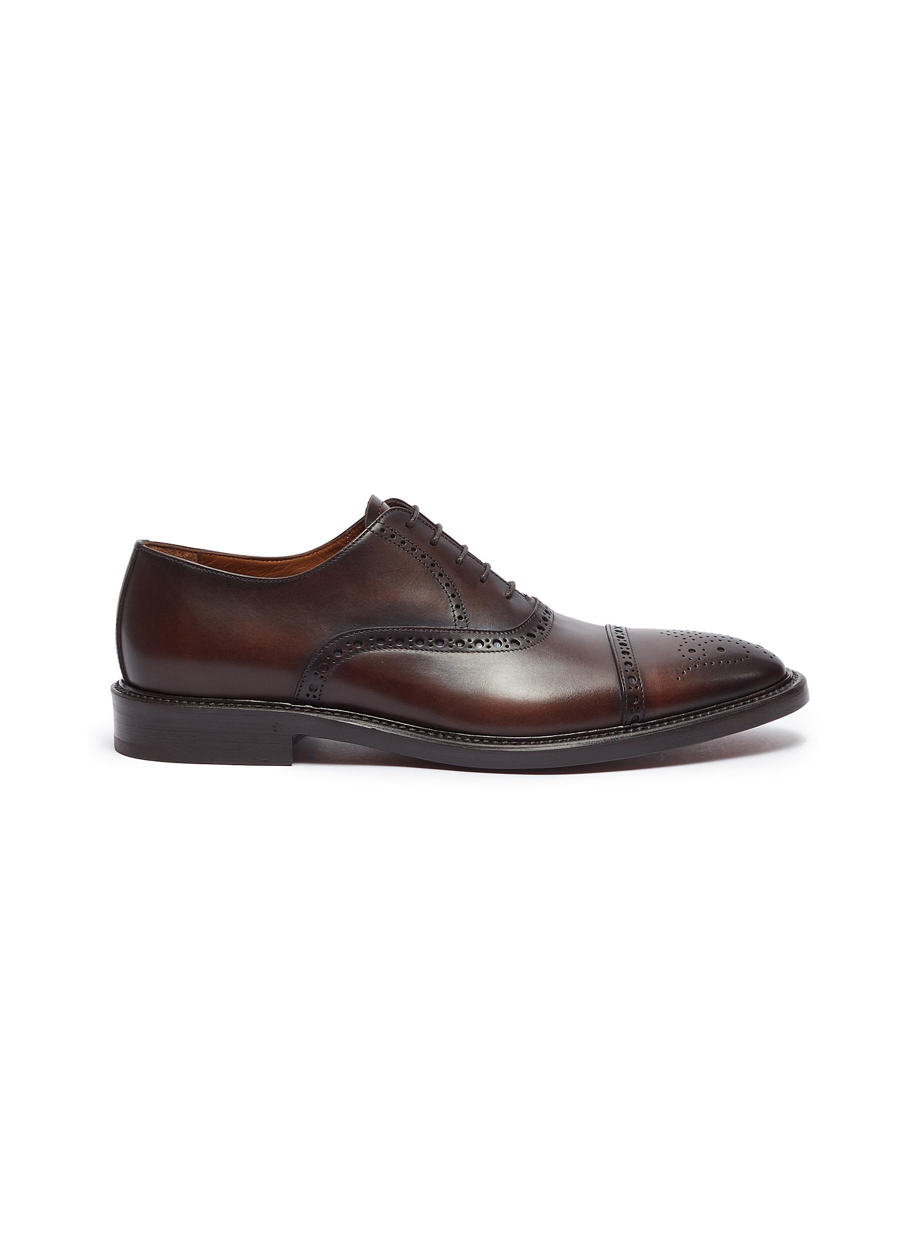 Camel leather brogue Oxfords by ANTONIO MAURIZI