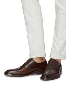 ANTONIO MAURIZI Camel leather brogue Oxfords
